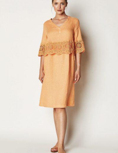 Leinenkleid Orange Spitze